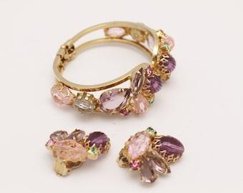 Vintage Juliana Clamper Bracelet and Earrings Multi Lavendar and Pink