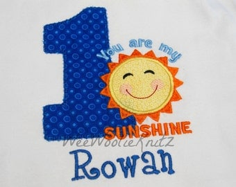 You Are My Sunshine Birthday Shirt or Bib Boys Girls Applique Personalized 1st 2nd 3rd 4th Tshirt