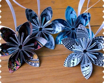 Tribal Pattern Recycled Ornaments, Paper Flower Set of 4, Eco Friendly Holiday, Christmas Decorations