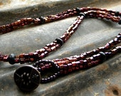 SALE  Blue Goldstone Roundelles Rondeles and Deep Burgundy Hex Tube Beads Beadwork BeadwovenNecklace Antique Button Clasp