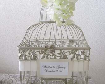 Large Champagne Bird Cage-Ivory and White Floral Accents-Wedding card holder