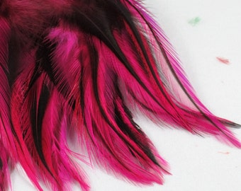 Feathers pink badger saddle rooster feathers QTY 50 3  5 inches craft feathers laced hen