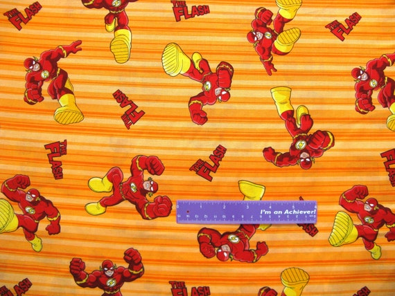 44 wide the flash super hero cotton fabric by the half
