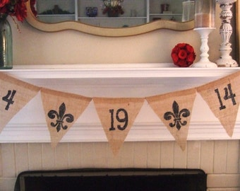 SAVE the DATE BURLAP Banner - Vintage - Rustic - Paris Wedding - Wedding Bunting