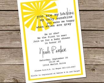 You Are My Sunshine - Baby shower Invitation