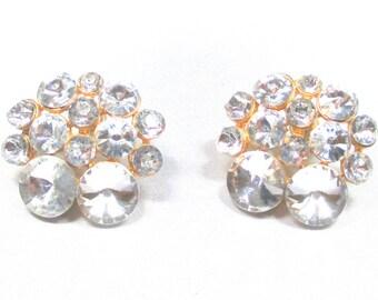 Beautiful Vintage Ravioli Rhinestone Pierced Earrings. Full of Bling