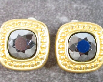 Vintage Givenchy Couture Paris & New York Signed Earrings, Huge Faceted Hematite Stone with  Matte Gold Setting