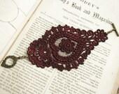 lace bracelet cuff -AGHNA- merlot wine