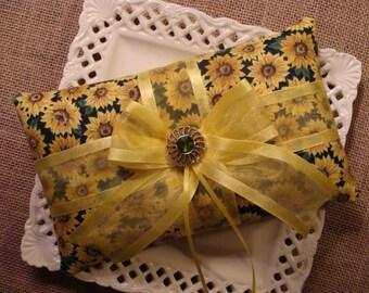 Wedding Ring Bearer Pillow - Sunflower Bow Pillow - Country Wedding - Rustic