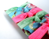 Hair Ties - Bloom & Bling Bands - Tropical Breeze (Set of 6) Hair Ties - Pink, Teal, White, Ponytail, Pigtails