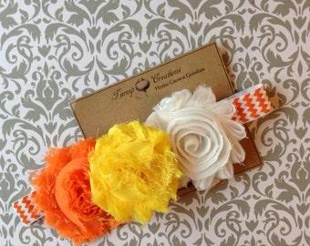 Halloween Shabby Flower Candy Corn Inspired Chevron Headband Orange, Yellow and White