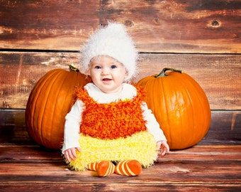 6-9 month Candy Corn Costume, halloween costume, infant costume, infant photo prop, infant halloween costume, shower gift