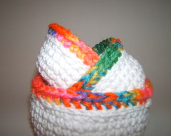 Crochet Nesting bowls white with bright border set of 3