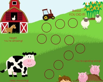 Instand Download, Farm Child Behavior Reward Chart, Girl, Incentive Chart, Behaviour Chart