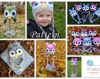 CROCHET PATTERN: Crochet Earflap Owl Hat, Crochet Boys Winter Hat Pattern, Girls Owl Hat, Kids Owl Hat Pattern with Ear flaps