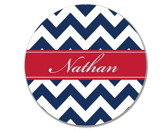 Personalized/ Monogram Chevron Melamine Dinner Plate- Choose your Colors
