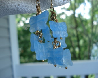 Vintage Matte Crystal Frosted Glass Butterfly Beads Cascading Dangle Earrings Light Blue
