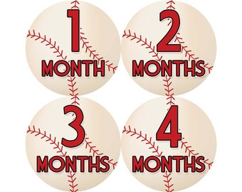 Monthly Stickers, Boys Photo Props, Monthly Baby Stickers, Monthly Baby Photos, Baby Gift, Milestone Stickers, Baseball (B018)