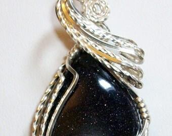 Blue Goldstone Pendant.