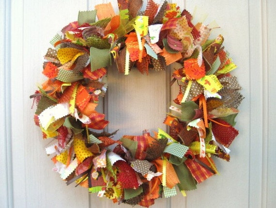 Ribbon Fabric Fall Wreath For Fall Decor Autumn Front Door