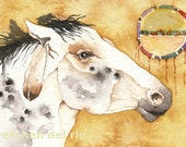 Spirit Dancer HORSE totem ACEO watercolor PRINT -  spirit animal wild mustang - Free Shipping