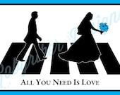 RESERVED: Custom Beatles Inspired Wedding Invitation Digital Files (Blue)