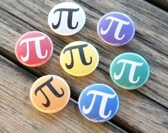 "Colorful Pi Math 1"" Pinback Button"