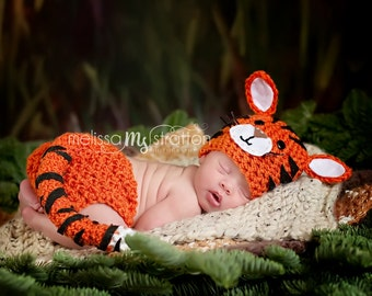 Newborn or 0-3 months  baby tiger diaper   cover hat set crochet Newborn photo props photography boy girl