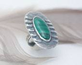 SALE - Malachite Ring, Size 6, Sterling Silver, Green Banded Malachite Ring, Modern Style, Oval Shape Ring
