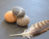 Felted Stones, 3 felted stones grey mustard ecofriendly home decor natural