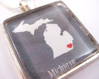 Detroit Michigan Love. Glass Tile Pendant Necklace