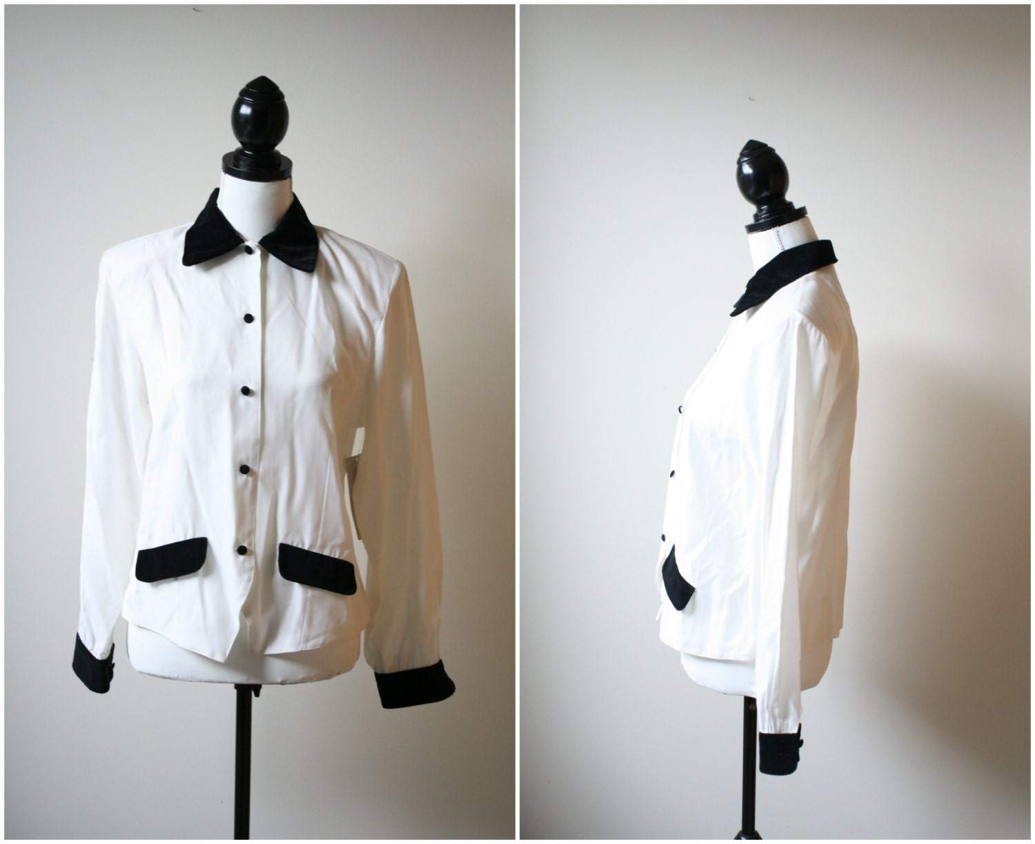 White Tuxedo Blouse with Black Velvet Collar - Karen Scott 1990s Button up blouse