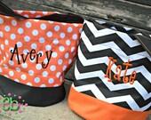 PERSONALIZED Chevron/Polka Dot Halloween Bag - Trick or Treat - Halloween Bucket