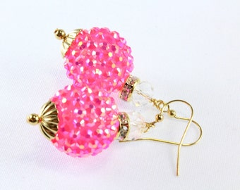 Hot Pink Disco Earrings, Breast Cancer, Sparkle Beads