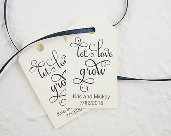 Let Love Grow Tag, Wedding Favor Tag, Seed Bomb Tag, Bridal Shower Favor Tag, Watch Our Love Grow, Plant Tag - Set of 25 (SMGT-SAM)