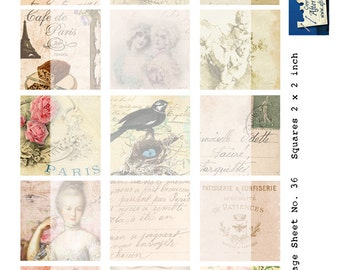 Digital Collage Sheet No 37 Vintage 2x2 inch Paris French Ephemera for Tags Cards Journaling Scrapbooking Mixed media ATC Paper art