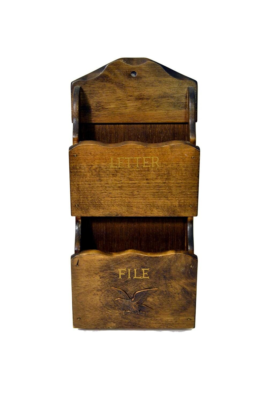 Two Pocket Wooden Mail Holder Vintage Letter File Organizer