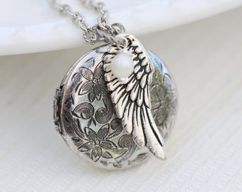 Locket Necklace,Angel Wing,Locket,Jewelry,Silver Locket,Antique Locket,Girl,Child,Baby,Girl Locket,Pearl,wedding,flower girl locket necklace