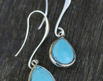 Turquoise Silver Earrings,Dangle Earrings, earrings,Wedding,Bride,Crystal.Wedding,Bridal, Bridesmaid