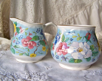 Vintage Cream and Sugar Set England Arthur Wood Staffordshire England Sugar Bowl Creamer Sky Blue Vintage 1950s