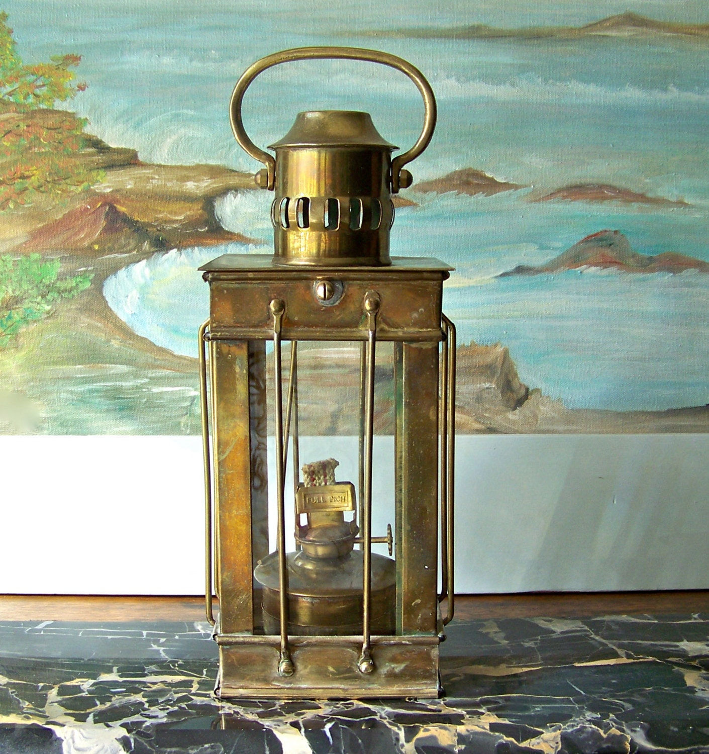 Antique Brass Oil Lantern Hanging Lantern