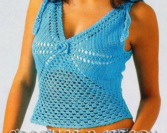Summer  Angel Blue Crochet TOP,Pattern with Chats only and information on yarn and stitches.   Only  in PDF files