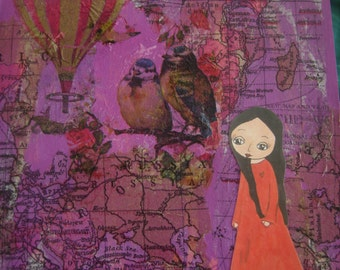 Something in the Way She Smiles - art print of the original mixed media painting by a Pink Dreamer