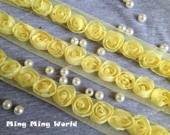 Light Yellow Chiffon Lace Trim -3.5 Yards Chiffon 3D Rose Lace Applique Trim (C2)