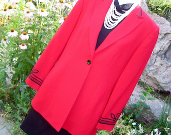 Wool Jacket~ Vintage Ladies  Kasper & Company~ Made in Hong Kong 100% Wool Red Jacket Size 6 Like New