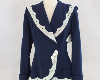 1940's Stunning Blue and White Beaded Jacket