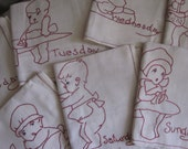 Complete Set 7 Days Of The Week Hand Embroidered Kitchen Towel Natural Cotton Red Kewpie Little Boy & Girl Baby A8