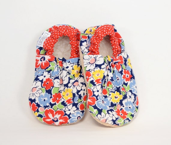 Flower Patch Bison Booties Size 0 to 6 Months Newborn Size 1 Ready to Ship baby gift girl floral