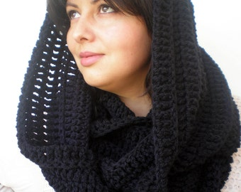 Black Color Scarf Super Soft Axrilyc Yarn Scarf Woman Hand  Crochet Scarf New