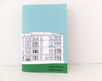 Handmade Notebook, Glasgow Journal, Sketchbook, Scottish notebook, Teal Journal, Blue Journal, Gift for guys